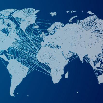 Ilustração de vários países se conectando em um mapa